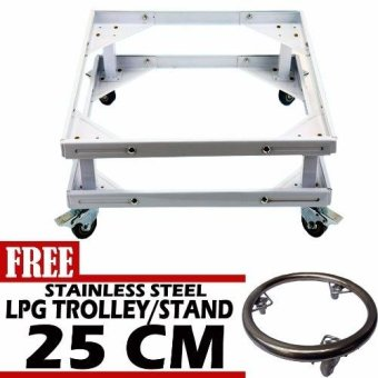 Prostar Durabase Lifted Refrigerator Base / Washing Machine Base /Range Oven Stand Dura Base Adjustable with Wheels (White) with Free25 cm LPG Trolley