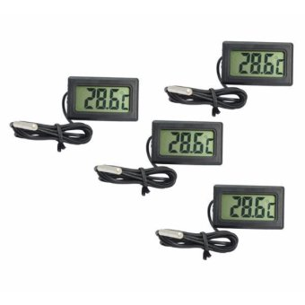 Raffles 8009 Mini Thermometer with External Probe Set of 4 (Black)