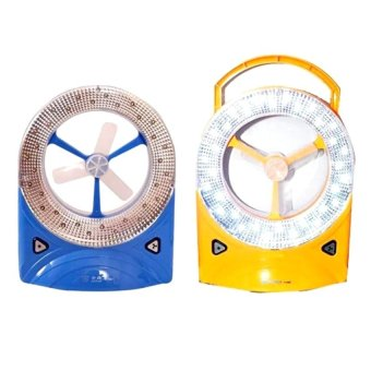 Rechargeable Super Bright LED Emergency Light With Fan Set of 2(Blue and Yellow)