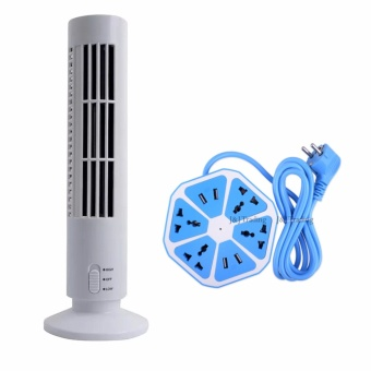 Rukia High Quality 2 Speed USB Tower Fan (White) with Smart4-Outlet with 4-USB Hexagon Creative Power Strip (Blue) Price Philippines