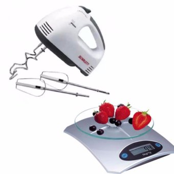 Scarlett Electric Egg Mixer (White) Bundle with Glass Kitchen Scale