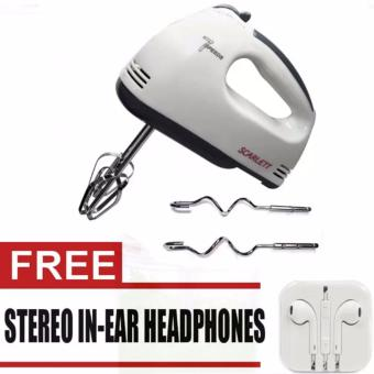 Scarlett HE-133 Professional Electric Whisks Hand Mixer (White) with free Stereo In-Ear Headphone (White)