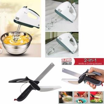 Scarlett Professional Electric Whisks Hand Mixer (White) with FREE As Seen On TV Clever Cutter 2 in 1 Knife & Cutting Board