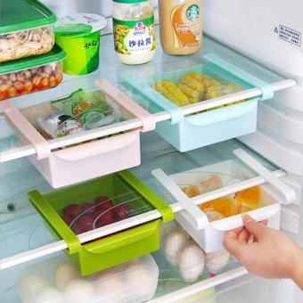 Set of 4 Slide Kitchen Fridge Freezer Space Saver Rack Shelf HolderRefrigerator Drawer Organizer Storage Box Shelves