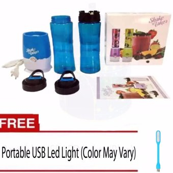Shake N Take 3 Tumbler and Blender 16oz (Blue) With Free PortableLED USB Light (Color May Vary)