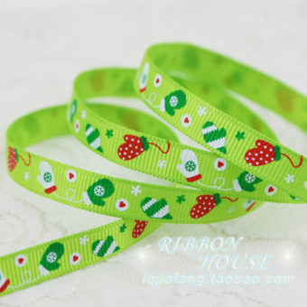 Snow printed cloth red, green and white Cooljie Christmas RIBBON