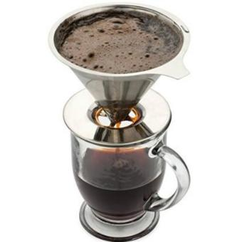 Stainless Steel Drip Coffee Filter Reusable Pour Over Single ServeCup Brewer - intl