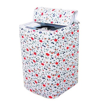 Sunshop Flower Pattern Thicker Waterproof Durable Washing Machine Zippered Dust Cover Random Color - intl