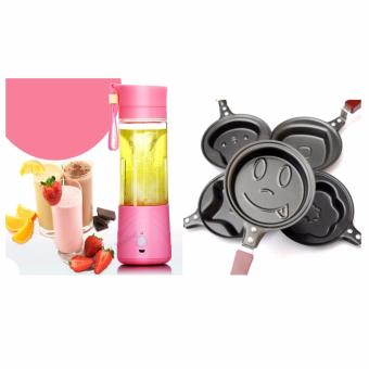 Zea Rechargeable USB Electric Fruit and Vegetable Blender CupJuicer Extractor 380mL (Pink) with 5 piece Egg Frying PancakesKitchen Pan with Stick Housewares Mini Pot