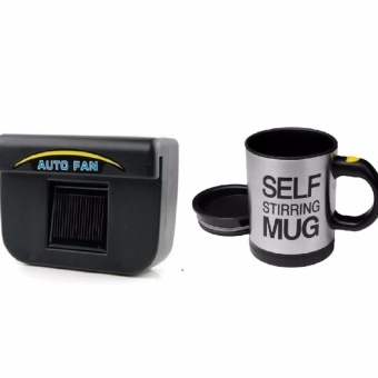 Zover Auto Cool Solar-Powered Car Window Ventilation System BlowsHot Air Out of Parked Car (Black) with Self Stirring Coffee Mug(Black/Silver) Bundle