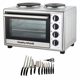 Zover Convection Rotisserie 1800 Watt Mini Oven 28L ConventionalFunction Fan Assisted Oven (Stainless Steel) with 13 piece KnifeSet