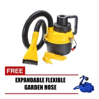 Zover DC12V Wet Dry Vac Vacuum Cleaner Portable Inflator Turbo HandHeld for Car and Household (Yellow) with Free Expandable Flexible50ft. Garden Hose
