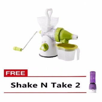 Zover Multi-function Manual Juicer Great for Wheatgrass and LeafyVegetables 400ml Capacity (Green) With Free Shake N Take 2 (Purple)
