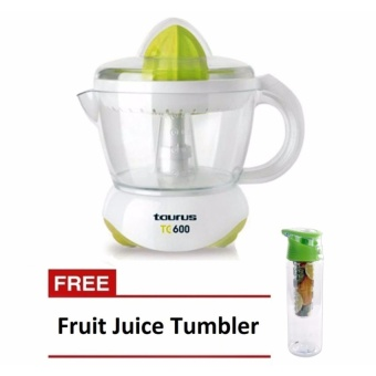 Zover Taurus T600 Easy to Use 230V/25W Citrus Juicer Squeezer(White) Removable, Easy to Clean (White) with FREE Fruit JuiceTumbler 700ml (Green)