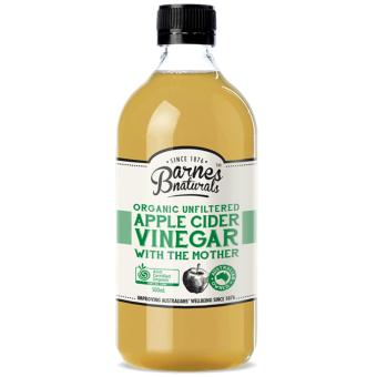 Barnes Naturals Organic Apple Cider Vinegar with the Mother Set of 6 x 500ml Glass Bottle