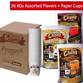 C26C-COM-3 Chong Coffee 3 in 1 (10 Kilos), Hot Choco (10 Kilos) andCaramel Macchiato (6 Kilos) Plus 2600 Paper Cups - Chong Cafe Phils