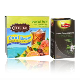 Celestial Seasonings Tropical Fruit Iced Herbal Caffeine Free 40Tea Bags 91g & Lipton green tea with jasmine 25 Tea Bags 50gbundle