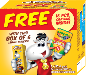 CHUCKIE Chocolate Milk Drink 180ml (Box of 6) with FREE 16-Piece Crayola Set Price Philippines