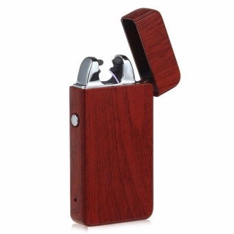 Electronic echargeable Windproof Double Arc Lighter Wood-like (Red)