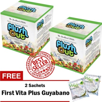 Flush Out Colon Cleanse Prebiotics & Probiotics 2 Boxes (10 Sachets/Box) with FREE 2 Sachets First Vita Plus Guyabano