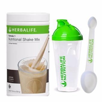 Herbalife F1 Nutritional Shake Cookies and Cream 550g Canister w/ Shaker and Spoon