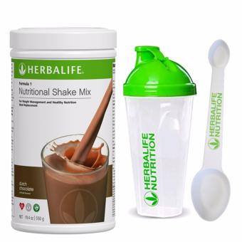 Herbalife F1 Nutritional Shake Dutch Choco 550g Canister w/ Shaker and Spoon