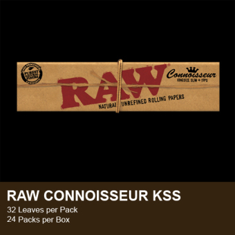 Harga Cigarette Rolling Papers RAW Connoisseur, KS Slim with Tips (Pack of 4)