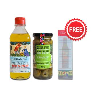 La Rambla Pure Olive Oil 500 ML + La Rambla Green Pitted Olives 235g + FREE NOTEPAD Price Philippines