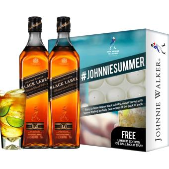 Harga Johnnie Walker Black Label 1L x 2 bottles with FREE Limited Edition Ice Ball Mold Tray