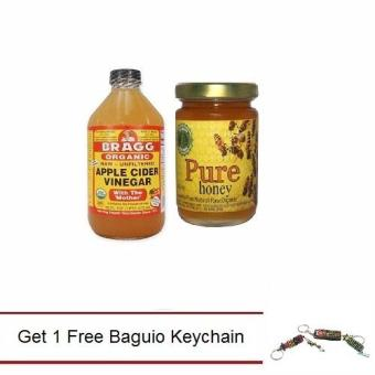 Harga Bragg Organic Apple Cider Vinegar Raw Unfiltered 473ml Bundled with Natural Pure Raw Honey Get 1 Free Baguio Keychain