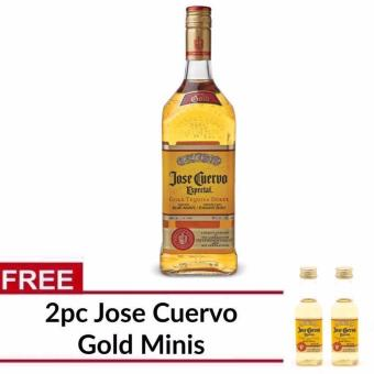 Jose Cuervo Especial Reposado Gold Tequila 1L with FREE 2pc Cuervo Minis