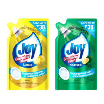 Joy Complete Clean Lemon Dishwashing Liquid 600ml with Complete Clean Kalamansi Dishwashing Liquid 600ml