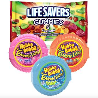 Life Savers Gummies 5 Flavors Candy, 13 oz and Hubba Bubba 3Flavors Bundle
