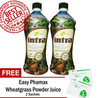 Lifestyles Intra 23 Herbal Juice (2 Bottles) with Free Easy Phamax Wheatgrass Juice 2 Sachets