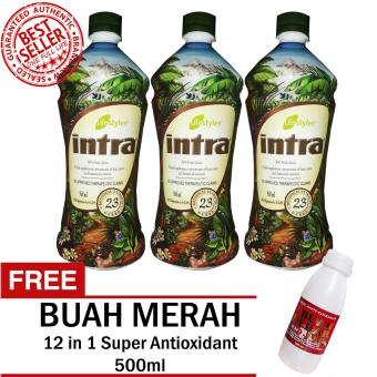 Lifestyles Intra 23 Herbal Juice 950ml (3 Bottlles) with FREE Super Antioxidant 12 in 1 Buah Merah