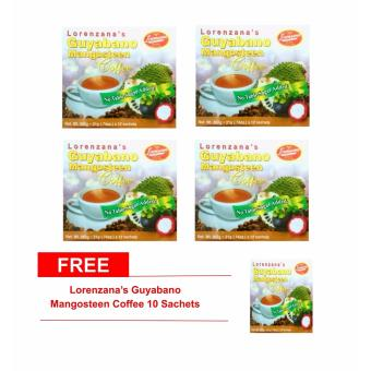 Lorenzana's Mangosteen Guyabano Coffee(Sugar Free) 21g Sachets Box of 12 Set of 4