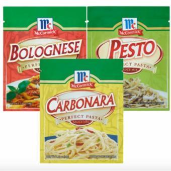 McCormick Bolognese Perfect Pasta Sauce Mix 40g, McCormick PestoPerfect Pasta Sauce Mix 30g & McCormick Carbonara Perfect PastaSauce Mix 35g bundle