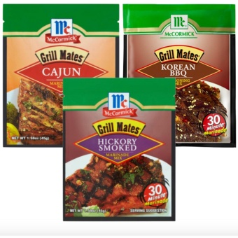 McCormick Grill Mates Cajun Marinade Mix 45g, McCormick Korean BBQMarinade mix & McCormick Hickory Smoked Marinade Mix bundle
