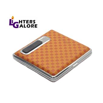 ORANGE CHECKERED CIGARETTE CASE RECHARGEABLE LIGHTER