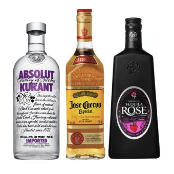 Party Pack Liquor (Jose Cuervo, Tequila Rose and Absolut KurantVodka) - 750ml