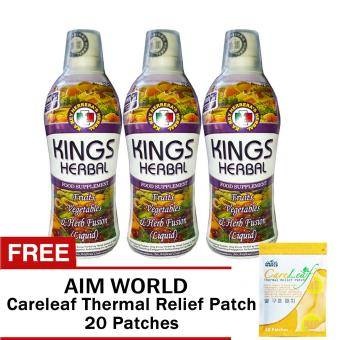REH Kings Herbal (3 Bottles) with Free Aim World Careleaf Thermal Relief Patch