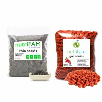 Set - Nutrifam US Chia Seeds 500g & Goji Berries 500g