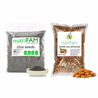 Set - Nutrifam US Chia Seeds 500g & US Whole Raw Almonds 500g