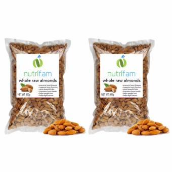 Set of 2 - Nutrifam US Whole Raw Almonds 500g