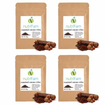 Set of 4 - Nutrifam 100% Pure Roasted Cacao Nibs (200g)