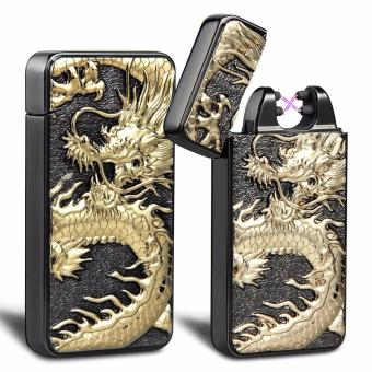 USB Rechargeable Windproof Flameless Electronic Pulse Double ArcCigarette Lighter Classy Chinese Dragon (Black)