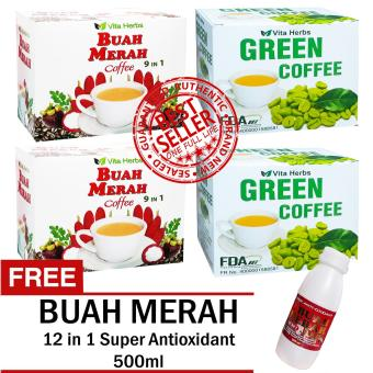 Vita Herbs Buah Merah 9 in 1 Coffee (2 Boxes) and Vita Herbs Green Coffee (2 Boxes) FREE Super Antioxidant 12 in 1 Buah Merah