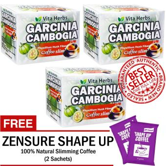Vita Herbs Garcinia Cambogia Coffee Slim (3 Boxes) 10 Sachets/Box with FREE 2 Sachets Shape Up Coffee