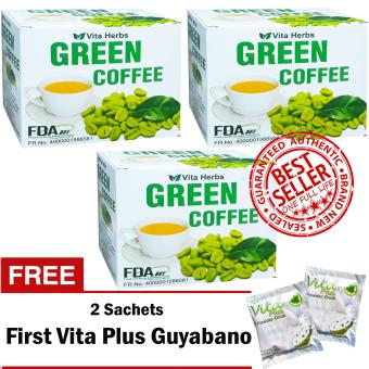 Vita Herbs Green Coffee 3 Boxes (10 Sachets Per Box) with FREE 2 Sachets First Vita Plus Guyabano