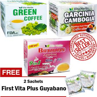 Vita Herbs Green Coffee, Garcinia Cambogia Coffee, Brazilian Coffee FREE 2 Sachets First Vita Plus Guyabano